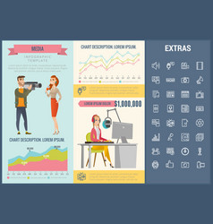 media infographic template elements and icons vector image
