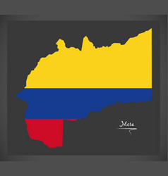 Meta map of colombia with colombian national flag vector