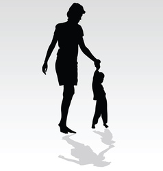 mother holding a child by the hand vector image