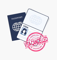 Passport with red stamped visa cancelled vector