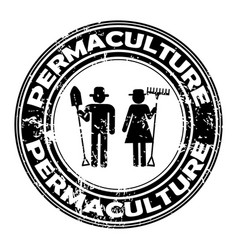 permaculture rubber stamp vector image