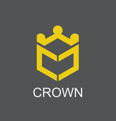 polygon crown logo vector image