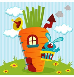 rabbit in house of carrots vector image