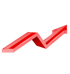 red arrow up growing 3d shiny icon vector image
