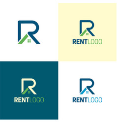 Rent letter r real estate logo and icon vector