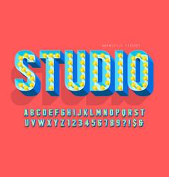 Retro cinema font design cabaret lamps letters vector