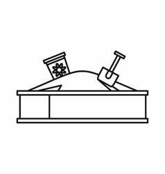 Sandbox on a playground icon outline style vector image
