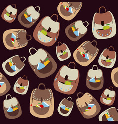 school cartoon pattern with flat colorful vector image