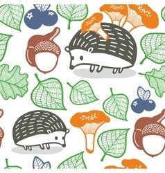 Seamless pattern with wild animals in the forest vector