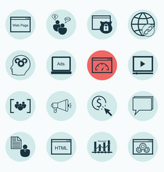 Set of 16 seo icons includes conference loading vector