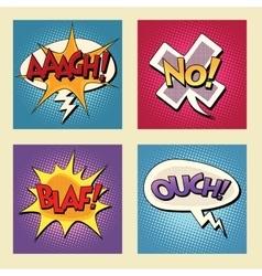 Set of retro comic bubbles pop art phrases vector