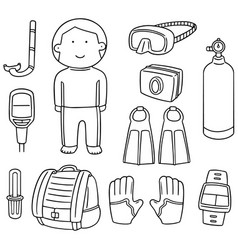 Set of scuba diving equipment vector