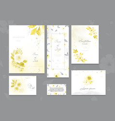 set ultimate gray and yellow card with flower vector image