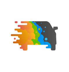 Silhouette of the car is painted in colorful vector