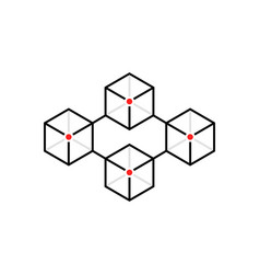 Simple thin line blocks like blockchain vector