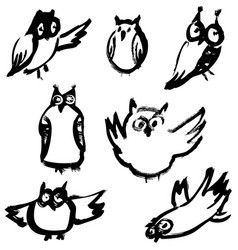 Sketchy owls set artistic hand-drawn birds vector