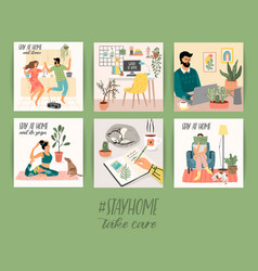 stay at home young men and women stay in cozy vector image