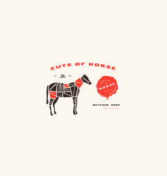 Stock horse cuts diagram in flat style vector