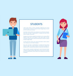 Students poster with frame boy in sweater trousers vector