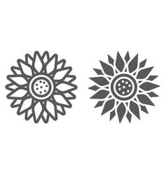 Sun flower line and glyph icon farming vector