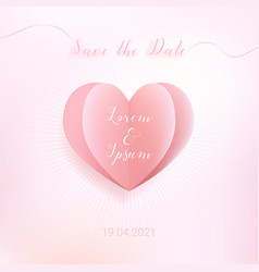 Sweet color heart in paper cut style with save vector