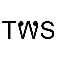 tws word text true wireless stereo bluetooth vector image
