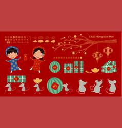 Vietnamese new year elements set vector