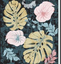 vintage tropic leaves watercolor exotic vector image