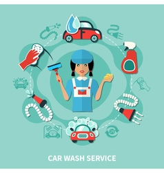 Washerwoman Tools Round Composition vector image