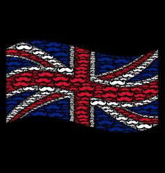 waving uk flag pattern of gentleman moustache vector image