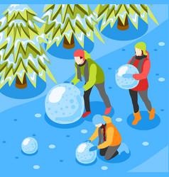 Winter fun isometric composition vector