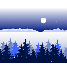 winter panoramic landscape with trees valley vector image