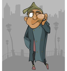 cartoon homeless man with the flux goes through vector image vector image