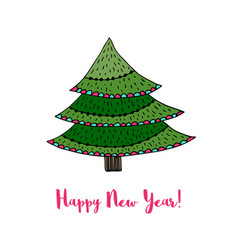 christmas tree sticker happy new year cartoon card vector image vector image