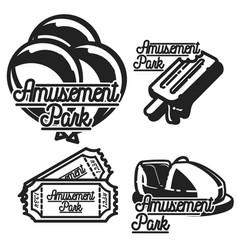 color vintage amusement park emblems vector image vector image