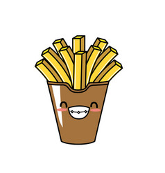 Cute kawaii french fries smile and happy vector
