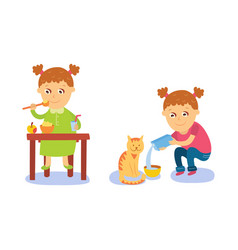 girl having breakfast and pouring milk to her cat vector image