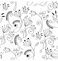 monochrome floral background vector image