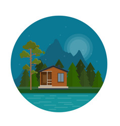 Night landscape with forest house on the lake vector