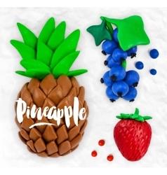 Plasticine fruits pineapple vector