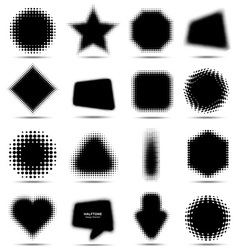 Set of 16 Abstract Halftone Design Elements vector image