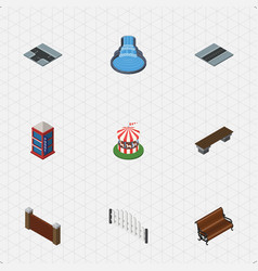 isometric architecture set of barricade bench vector image