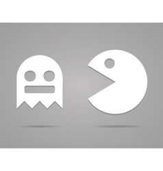 Paper pacman ghosts 8bit retro game icons set eps vector