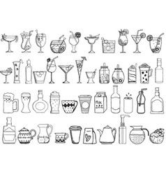 big set of hand drawn drinks on white background vector image