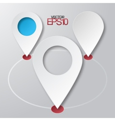 Modern flat design map markers with drop shadows vector image