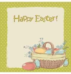 Retro styled hand drawn vintage Easter card vector image