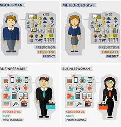 Set of professions Meteorologist weatherman vector image vector image