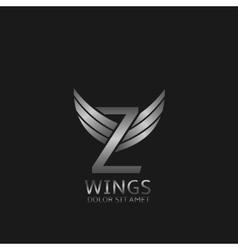 Wings Z letter logo vector image
