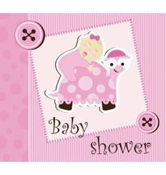 Baby shower - girl sleep on a turtle vector image vector image