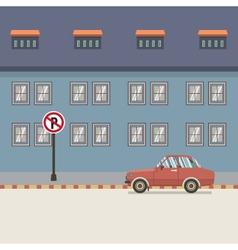 Car Parked Beside Pedestrian vector image